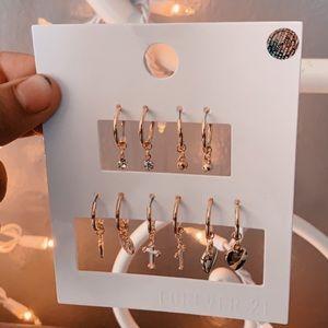 brand new gold cross earrings set